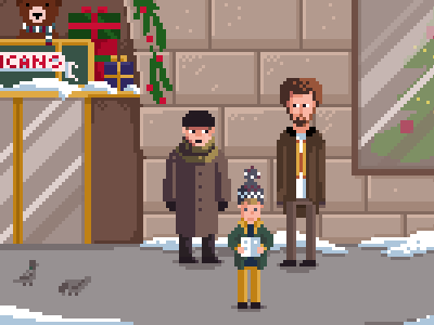 Home alone 8 bit pixel art illustration