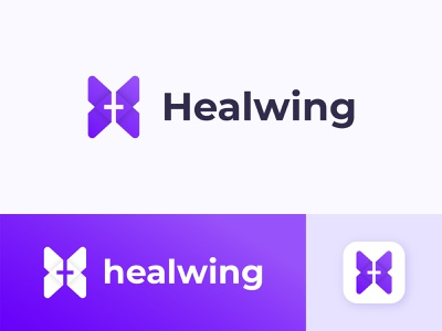 healwing health logo gradient abstract logo brand identity app icon hospital logo medical monogram modern logo health logo health app logos symbol modern brand logotype minimalist icon branding logo design logo