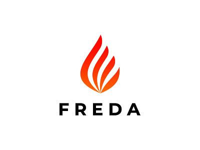 Freda Flame logo design simple logo unique brand identity gas logo power flame fire app icon creative modern logo 3d vector illustration brand icon logotype minimalist branding logo logo design
