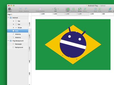 Android Brazil Flag android vector design brazil sketch ui mobile