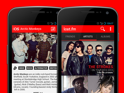 Last.fm for Android - Redesign android ui ux mobile design android ui last.fm android ux red music