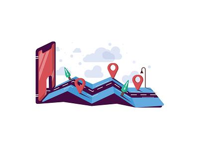 Navigation App landscape illustration tree mobile road map navigation ux صالحی saalehii tehran flat vector ui iran illustration design