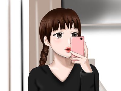 Selfie digital illustration digital painting digitalart portrait anime illustraion art