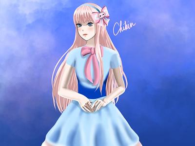 Diane portrait digital illustration anime illustration art maplestory