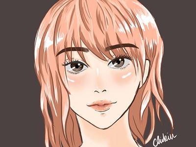 Cream illustration portrait drawing digital illustration digital painting digital art digitalart digital anime girl anime art animeart anime