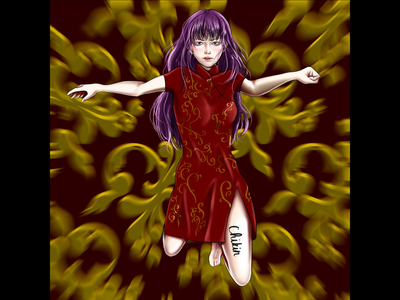 Qipao warrior drawing chinese culture chinese asian girl asian qipao qipao digital illustration digital painting digital art digitalart digital artwork artist art anime studio anime girl anime art animeart anime