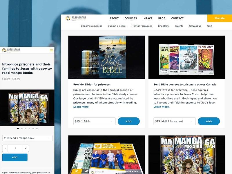 New work: an e-commerce website addition for Crossroads responsive wordpress digital design web design web woocommerce theme woocommerce