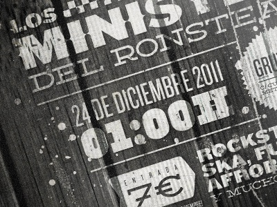 Los Ministers - Poster detail typography retro poster concert music wood bw texture detail