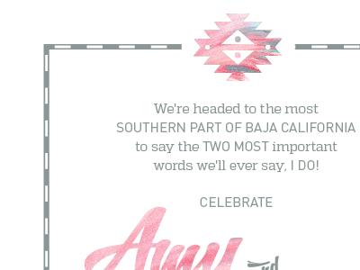 Joyce Wedding Invites, in progress fiesta latin pattern maps pink teal wedding