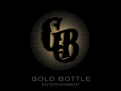 Gold Bottle Ent. gold hand drawn type half tone sans serif lettering typography logo brand