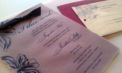 J+J Wedding Invites ipf500 made assembly line velum custom stamp ink cut hand-assembly