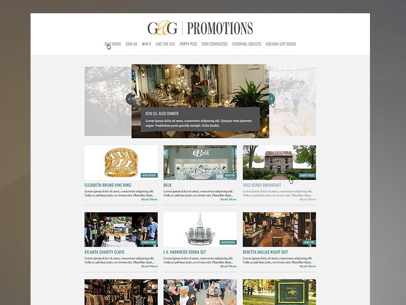 Garden & Gun Promo Site web grid responsive carousel simple white minimal
