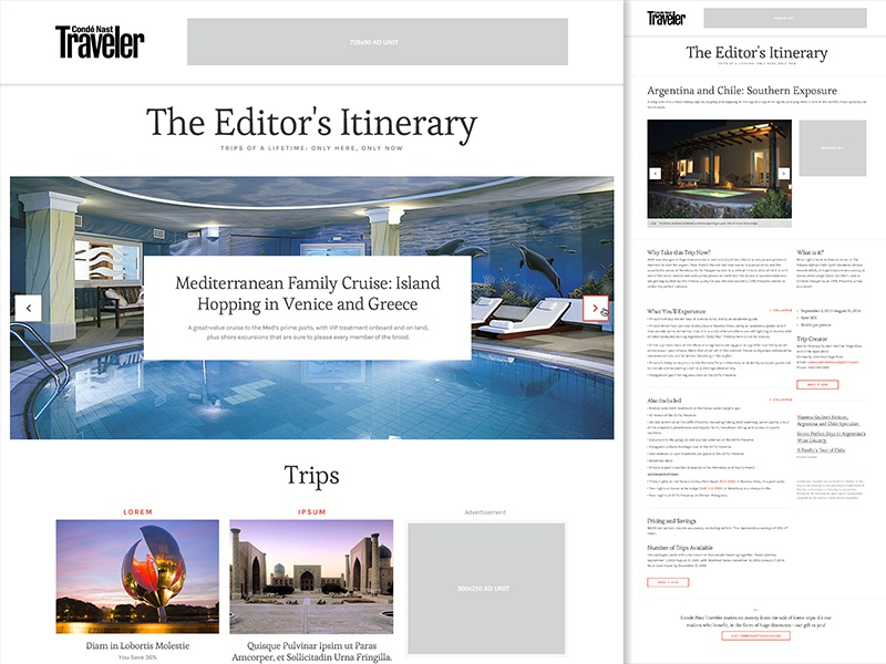 The Editor's Itinerary editorial web responsive