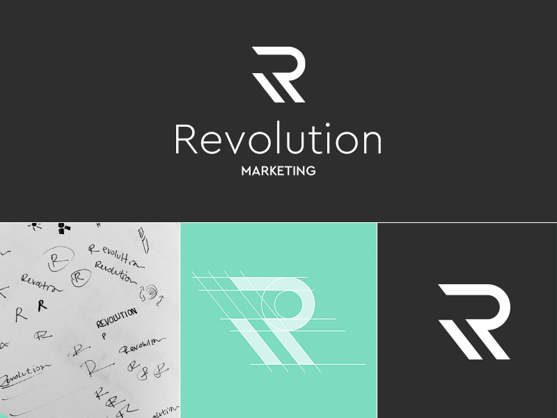 Revolution Marketing Rebrand grey gray rebranding r green logo experiential agency rebrand