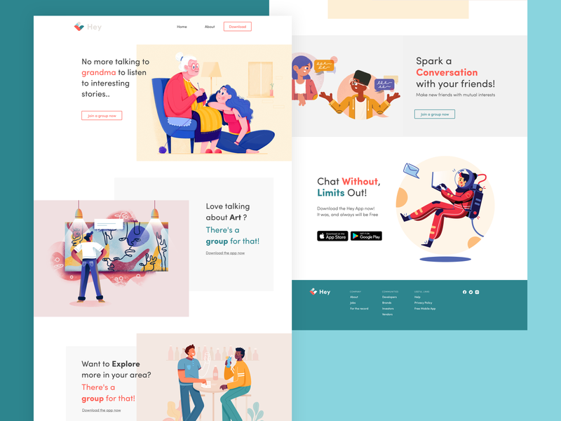 Landing Page || Hey Chat illustration branding uiux ui website uidesign mobile ui app adobe xd design