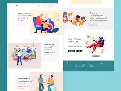 Landing Page    Hey Chat illustration branding uiux ui website uidesign mobile ui app adobe xd design