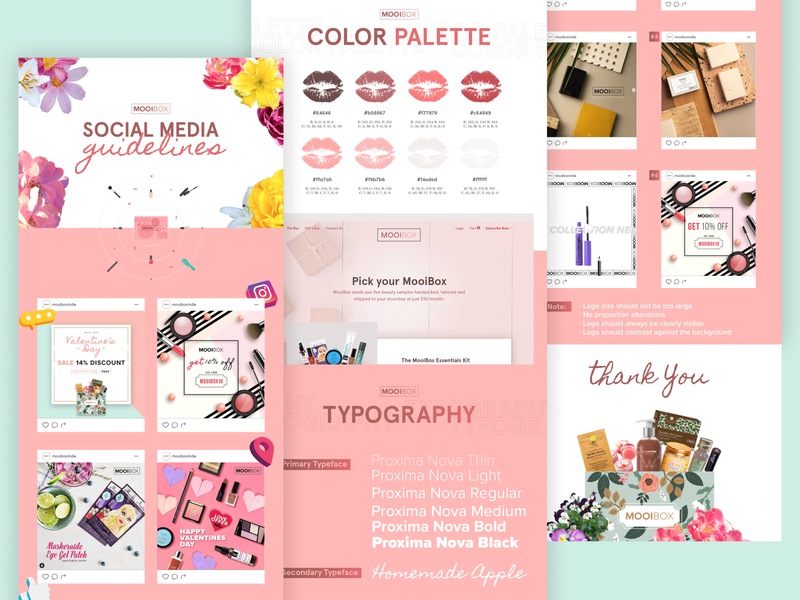 Social Media Guidelines || MOOIBOX social networks social app app web design website branding design makeup artist subscription box makeup guidelines social network social media typography vector logo illustration branding design