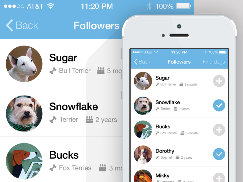 Followers ios7 ui ux interface friends list friends list followers iphone dogs dog woof.