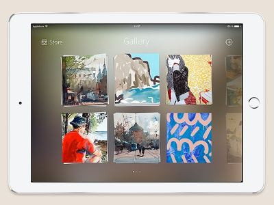 Gallery ios palette gallery stack pictures photos interface ipad app drawing