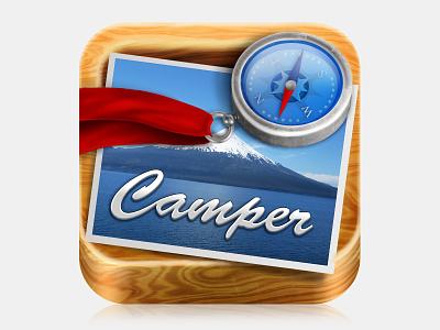 Camper iphone icon ios ipad texture wood navigation