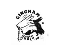 Gingham goats white