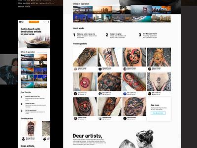the.ink homepage typography design clean landing homepage vesper marketplace tattoo web design the.ink ink