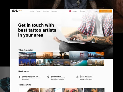 the.ink homepage typography design clean landing homepage vesper marketplace tattoo web design the.ink ink