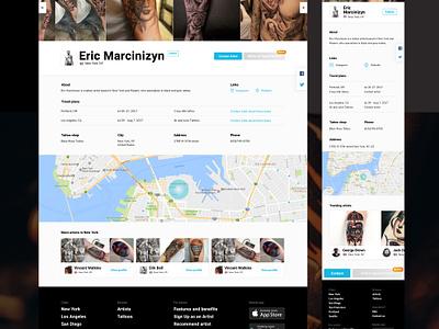 Artist Profile web design web ui marketplace tattoo artist tattoo profile