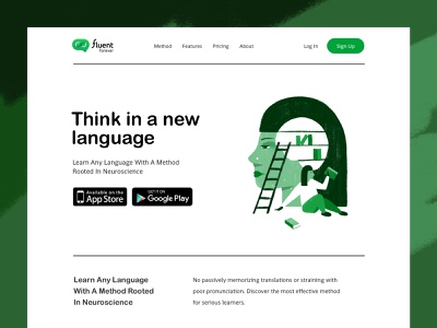 Fluent Forever hHomepage concept web design agency web design web design typography language learning language illustration landing page landing homepage design homepage