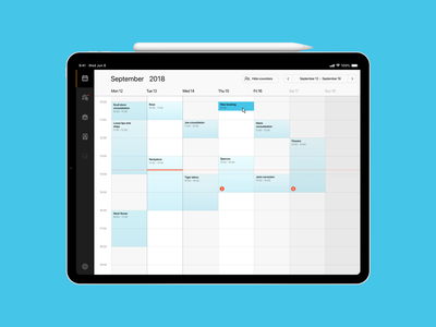 Calendar - New Booking the.ink product design ux design calendar app calendar ipad ui interface app