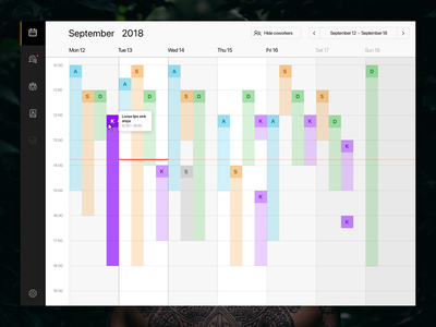 Group Calendar - Admin view dash dashboard appointments appointment booking app calendar design calendar app management ink tattoo the.ink week ux ui web admin crm schedule booking calendar
