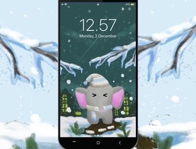 Smartphone Wallpaper - Elephant's freezing in white