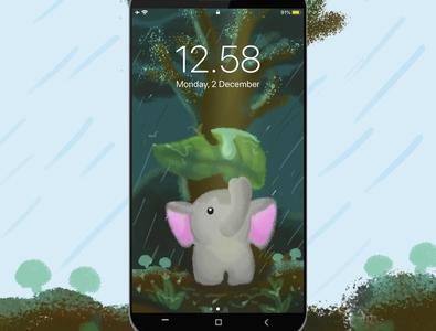 Smartphone Wallpaper - Elephant in the rain
