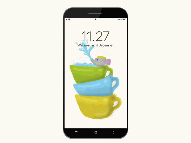 Smartphone Elephant in Teacups Wallpaper