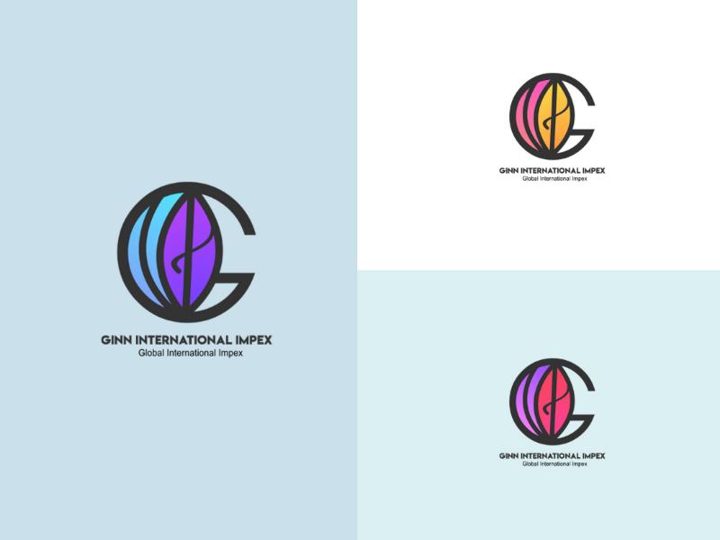 Ginn International Impex modern gradient adobe illustrator photoshop international globe corel draw logo designing logos