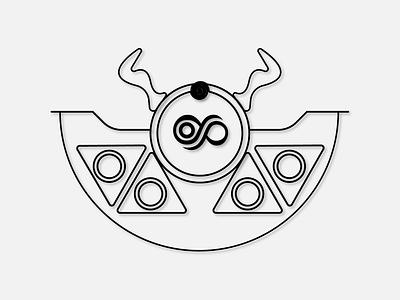 King Feor circle logo circle blackandwhite illuminati 6noran santa geometric art triangles horns infinity corel draw illustration adobe illustrator