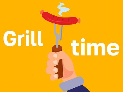 Grill time logo branding dribbble digital design digital art graphics graphic design illustration graphic design