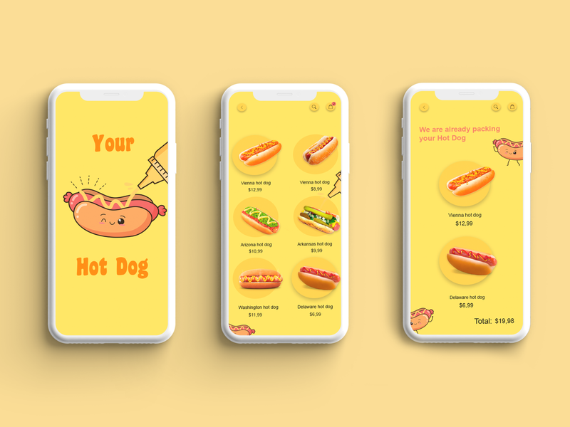 App for the Hot Dog Cafe hot dog brand digital design graphic design illustration ux ui uiux app design design