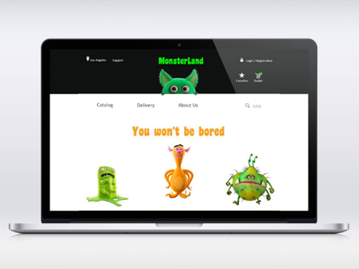 MonsterLand uxui monsters desktop mobile design ux ui website e-commerce