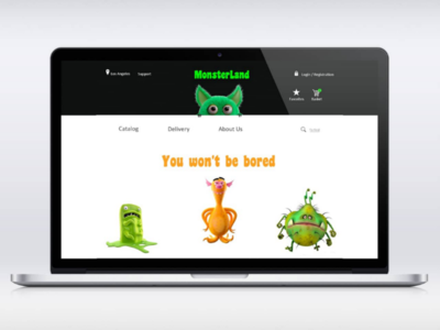 MonsterLand uxui monsters desktop mobile design ux ui website e-commerce