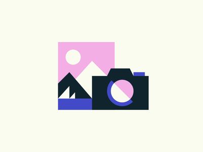 Holiday Memories water boat mountain photography camera icon design illustration icon geometry minimalism