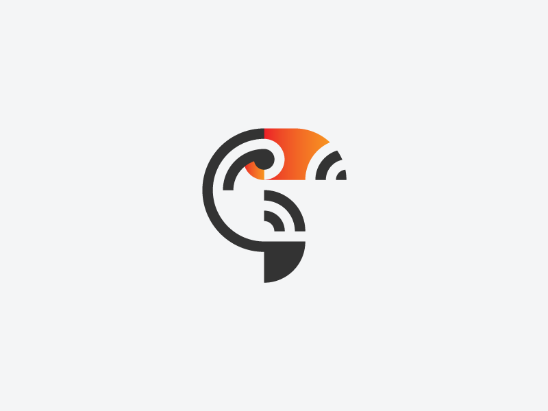 Toucan bird toucan minimalism mark logotype logo identity icon geometry branding animal