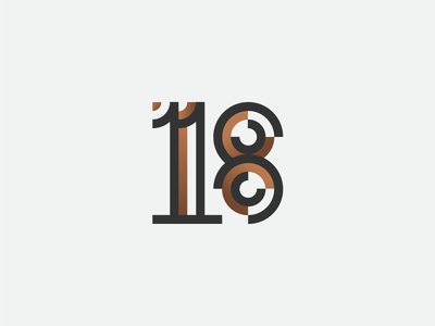 18 typography type numeral minimalism logotype logo identity icon geometry branding 18