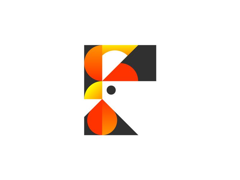 Rooster minimalism minimal logotype logo gradient geometry rooster branding bird animal
