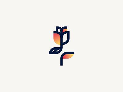 Spring plant minimalism logotype logo illustration identity icon geometry tulip rose flower branding