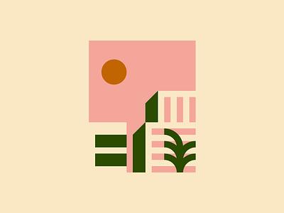 Thinking back to the holiday I never had 03/03 city summer pink minimalism illustration holiday geometry geometric dreamy art architecture