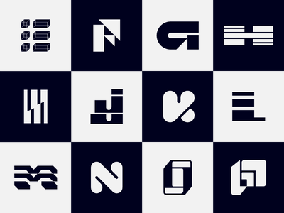 The Alphabet Series - E to P letterforms alphabet minimal minimalism mark geometric branding icon tyopgraphy type logo