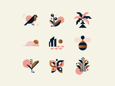 Spring Icons sea city tree nature sun cloud beach butterfly flower plant bird robin palm tree branding logo illustration icons icon spring