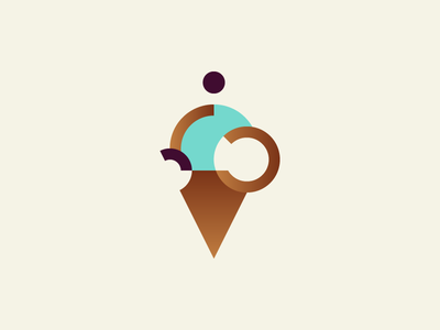 Ice Cream vector branding logotype scoop geometry illustration cherry lollipop summer icon design logo icon minimalism blue copper cone ice cream