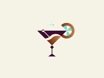 Cocktail creamy copper sugar orange lemon vector logo branding illustration icon geometry minimalism alchohol drink cocktail